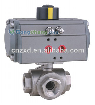 Pneumatic 3-way ball valve