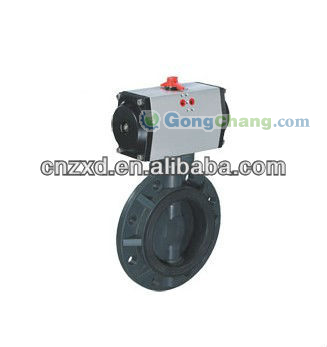 PVC butterfly valves with pneumatic actuator